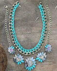 Gorgeous bright blue statement necklace