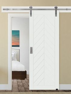 Paneled Manufactured Wood Primed Chevron Barn Door without Installation Hardware Kit Upcycled Repurposed Bi-fold Shutter Door Plank Chevron Painted Barn Door Style P .Upcycled Repurposed Bi-fold Shutter Door Plank Chevron Painted Barn Door Style P Wood Barn Door, Glass Barn Doors, Diy Barn Door, Barn Door In Bedroom, Diy Door, Barn Door Handles, Sliding Barn Door Hardware, Sliding Door Systems, Sliding Doors