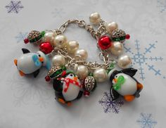 OOAK Beaded Penguin Cha Cha Charm Bracelet by TrendyCharm on Etsy