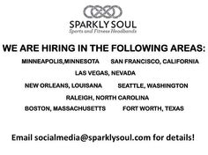 @sparklysoulinc is hiring for events in the following areas:  Minneapolis, Minnesota San Francisco, California Las Vegas, Nevada New Orleans, Louisiana Seattle, Washington Raleigh, North Carolina Boston, Massachusetts Fort Worth, Texas  Email socialmedia@sparklysoul.com if you are interested in details (indicating what city you are interested in) OR tag someone who lives in that area if you think they would be interested!  #sparklysoulheadbands #nopieceofblackelasticintheback #jobs #hiring