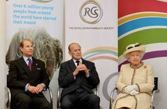 The Queen, the Duke of Edinburgh and Prince Edward make a fine trio on the Royal Commonwealth Society visit - hellomagazine.com