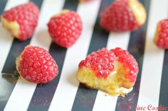 Crème brûlée filled raspberries by 1 Fine Cookie 1 stuffed, dessert, custard, recipe, valentine's, valentine's day, day, red, pastries, food, homemade, how to, guide, vanilla bean, tempering, eggs, butane, kitchen, torch, rasperry,