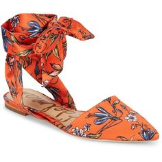Sam Edelman Floral Print Flats ($50) ❤ liked on Polyvore featuring shoes, flats, pointed toe ankle strap flats, floral shoes, floral flat shoes, ankle wrap flats and orange flat shoes