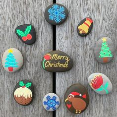 40 Easy Rock Painting Ideas for Beginners Christmas Rock, Merry Christmas, Rock Painting Ideas Easy, Childhood Days, Kindness Rocks, Beginner Painting, New Hobbies, Stone Painting, Painted Rocks