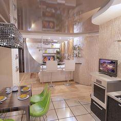 Интерьер                                       гостиной. Вид из кухни. Академика                                       Сахарова, 12