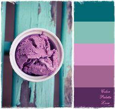 Color Palette: Purple, Turquoise,