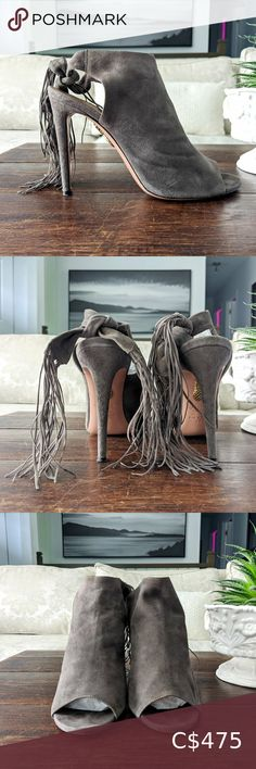 """👠 AQUAZZURA Fringe High Heel Suede Sandals AQUAZZURA Fringe Tie High Heel Suede Sandals with covered heels and tie closures at ankles. Includes box.   Charcoal / grey / brown. The color shown on the photos is representative of what they really look like.   Heels: 4"""" Material: Suede Size: 39 (fits like a 8.5) Aquazzura Shoes Heels Blue Sandals Heels, Mid Heel Sandals, Lace Up Heels, Suede Heels, Ankle Strap Sandals, High Heels, Shoes Heels, Sock Ankle Boots, Pointed Toe Pumps"""