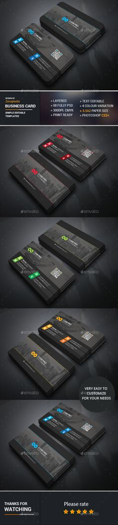 Black Corporate Business Card Design Template - Business Cards Template PSD. Download here: https://graphicriver.net/item/black-corporate-business-card/17284019?ref=yinkira