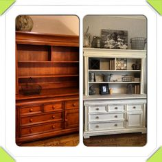 Annie Sloan painted dresser and hutch in old white