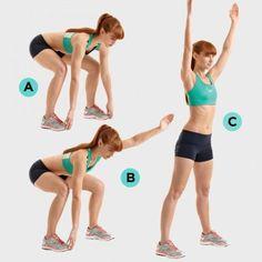 Động tác 3: Đứng 2 chân rộng bằng vai. Giữ chân thẳng, cúi xuống và nắm lấy ngón chân. Sau đó từ từ gập đầu gối để hạ thân mình về tư thế squat (hình A). Giữ nguyên tư thế đó, giơ cao tay trái (hình B), rồi tiếp tục giơ tay phải. Cuối cùng ấn gót để đẩy người đứng thẳng (hình C) rồi hạ tay xuống.
