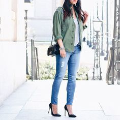 Today on SMT wearing this military shirt/jacket I picked when I was in NOLA. Can't get enough of this color.  www.liketk.it/2n8fh