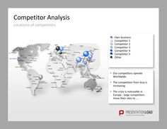 Competitor Analysis PowerPoint Templates Use a world map to show the locations of your competitors. #presentationload  http://www.presentationload.com/competitor-analysis.html