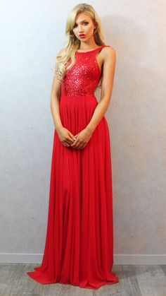 2014 Sexy Red Sequins Prom Dress Backless Long Chiffon Womens Evening Party Gowns