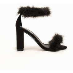 Nly Shoes Block Heel Fluffy Sandal ($28) ❤ liked on Polyvore featuring shoes, sandals, heels, black, party shoes, womens-fashion, black ankle strap sandals, ankle wrap sandals, black heel sandals and heeled sandals
