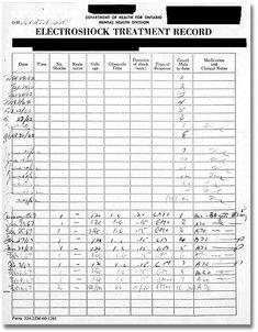 Electroshock Treatment Record from a patient case file, North Bay psychiatric hospital patients' clinical case files Insane Asylum Halloween, Mental Health Care, Mental Health Problems, Insane Asylum Patients, Old Hospital, Haunted Hospital, Ontario, Mental Asylum, Best Nursing Schools