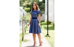 Vestido Franciele Gode Tecido chambray azul - 8160