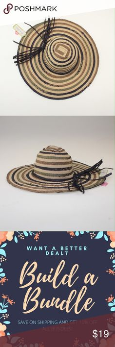 """Green & Navy Floppy Wide Brim Sun Hat This gorgeous summer hat is ready to spend a sunny day at the beach! It features straw stripes of green, navy, and tan on a cream colored fabric base. The hat measures about 22.5"""" around the head and the brim sticks out about 4.5"""". This hat is brand new with tags still attached. #9SKW1 Accessories Hats"""