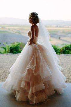 Blush @lazaro wedding dress with strapless sweetheart neckline and satin bodice {Megan Clouse Photography}