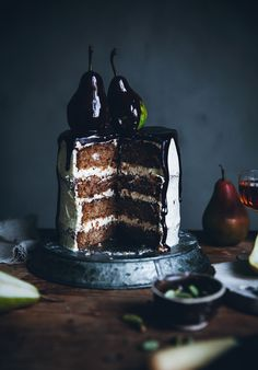Call me cupcake: Pear cardamom cake with brown butter frosting & chocolate glaze