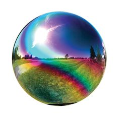 Very Cool 10-inch Rainbow Gazing Globe, Silver, Outdoor Décor