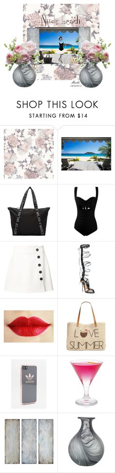 """""""Nude beach?"""" by dragonforce5 ❤ liked on Polyvore featuring Tempaper, County Of Milan, Misha Nonoo, Dsquared2, Style & Co., adidas, Uttermost, John Lewis and LSA International"""