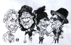 Rolling Stones 1 By Grosu Famous People Cartoon Caricature Rolling Stones Stone Art
