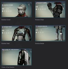 Exodus is a legendary armor set built for the Hunter class by Dead Orbit. The set can be purchased from Arach Jalaal. Exodus armor set: Exodus Cover Exod... #destiny