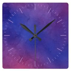 Pink and Purple Watercolours Square or Round Clock