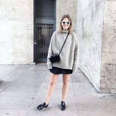 via afterdrk - Sweater weather, well not really but I am doing it anyway. #celine #outfit #wiwt #ootd #blackandgrey