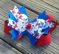 Fourth of July Hair Bow with Stars by MiaBellaCrafting on Etsy