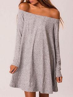 Shop Gray Off Shoulder Long Sleeve A-line Dress from choies.com .Free shipping Worldwide.$17.9