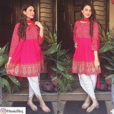 Aaniat looks apsolutely stunning in this hot pink peplum top by Zahra Ahmad … Pakistani Fashion Casual, Pakistani Dresses Casual, Pakistani Dress Design, Indian Fashion, Pakistani Models, Pakistani Couture, Stylish Dresses, Simple Dresses, Casual Dresses
