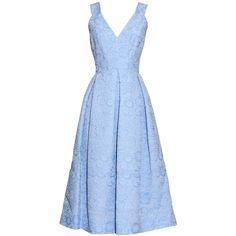 Erdem Fabrizia cloqué pleated dress ($885) ❤ liked on Polyvore featuring dresses, erdem, gowns, light blue, floral day dress, floral printed dress, blue flower print dress and flower print dress