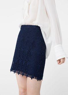 Guipure skirt -  Women   MANGO USA