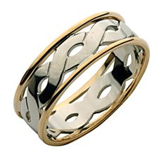 7mm 9ct Gold Two Colour Celtic Wedding Ring - Two Colour at Elma UK Jewellery