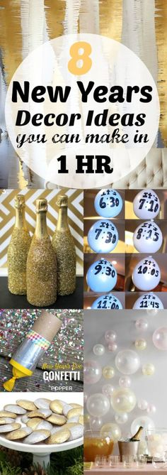 These last minute New Years Eve Decor Ideas can be made in 1 hour or less for your party. Your guests will love to ring in the New Year with these thoughtful party ideas, and they will think you spent hours on it!