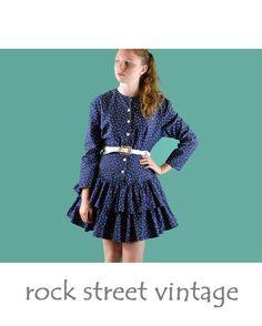 Vintage 80s Dress Navy Polka Dot Ruffle Dress by rockstreetvintage, $48.00