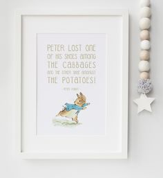 Peter Rabbit New Baby/Chid Boy/Girl Nursery Birth Name Quote Print Keepsake Picture Christening Gift by LexisLittlePrints on Etsy