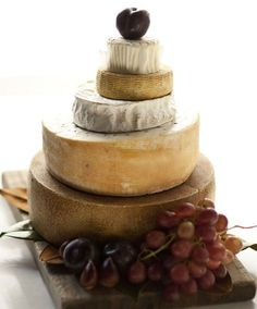 Wedding cake of cheese. Why didn't I think of this for my wedding. Would have made much more sense (I heart cheese!)