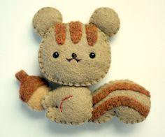 Eco Friendly Felt Squirrel - Plushie, Magnet or Brooch. $8.99, via Etsy.