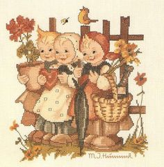 """Wee Three"" Hummel cross stitch design"