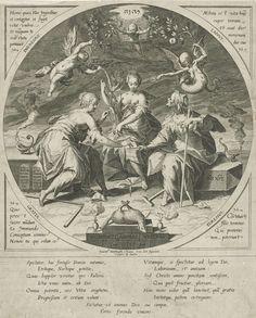 Aegidius Sadeler   De drie schikgodinnen, Aegidius Sadeler, 1589   De drie schikgodinnen, zittend bij elkaar in de nacht. Boven hun hoofden een engel (links) en een duivel (rechts) Op de voorgrond een lamsoffer. In cirkel binnen rechthoekig kader met in de vier hoeken Latijnse citaten uit het boek Job. Middenboven het tetragram.