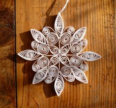 Eco-friendly white quilled snowflake £3.00 by Oh My Craft on Folksy