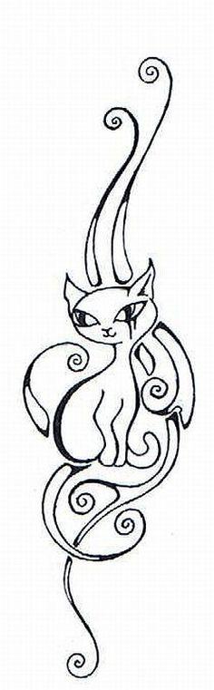 Tribal Cat Tattoo Designs | tribal cat satu by Siblesue