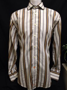 Thomas Dean Men's Gold Striped Cotton Button Front Long Sleeve Shirt M #ThomasDean #ButtonFront