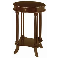 Boost your homes interior d�cor with this mahogany oval side table. With a traditional look and feel, this side table can be used as a telephone stand, end table, or decorative piece. The small storage drawer provides space for small items.