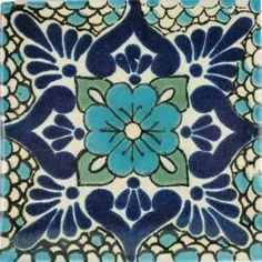 Polanco 3 - Mexican Talavera Handcrafted Tile (no orange accent) Tile Patterns, Textures Patterns, Mexican Pattern, Mexican Ceramics, Tuile, Spanish Tile, Talavera Pottery, Ceramic Pottery, Ceramic Art