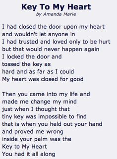 poem of the story of heart locket and key