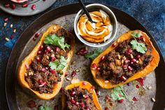 Sweet roast pumpkin is perfect with aromatic lamb. Roast the pumpkin and make the lamb ahead of time, ready to stuff and roast on the night.