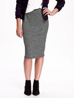Sweater Knit Midi Pencil Skirt